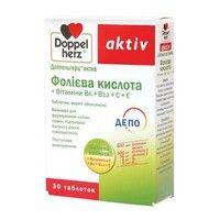 Доппельгерц Актив Фолиевая кислота+В6, В12, С, Е таблетки 1110мг №30