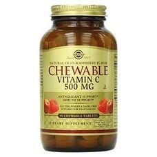 Витамин С с малиновым вкусом жевательные таблетки 500мг №90, Солгар / Solgar®