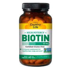 Витамины Biotin (Биотин) 10000 мкг 60 капсул ТМ Кантри Лайф / Country Life