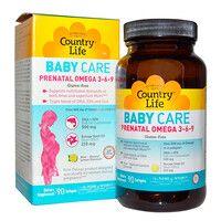 Витамины и минералы при беременности Prenatal Omega 3-6-9 90 капсул ТМ Кантри Лайф / Country Life