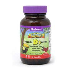 Вітамін D3 400IU Rainforest Animalz для дітей жувальні цукерки з ягідним смаком №90 - Фото