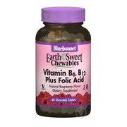 Вітамін В6, В12 і Фолієва кислота EarthSweet жувальні капсули зі смаком малини №60 - Фото