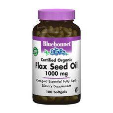 Органічне Льняна Олія 1000 мг Bluebonnet Nutrition 100 желатинових капсул - Фото