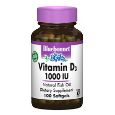 Витамин D3 1000 IU Bluebonnet Nutrition 100 желатиновых капсул - Фото