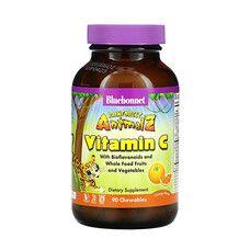 Вітамін С для дітей з апельсином Rainforest Animalz Bluebonnet Nutrition 90 жувальних цукерок - Фото