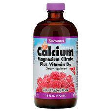 Жидкий кальций Цитрат Магния+Витамин D3 вкус клубники Bluebonnet Nutrition 472 мл - Фото
