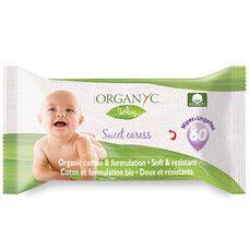 Вологі серветки дитячі органічні 60 шт Organyc - Фото