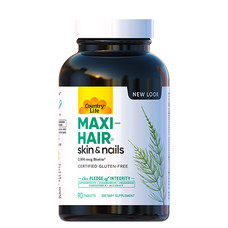 Комплекс вітамінів і мінералів Maxi-Hair Country Life для зростання та зміцнення волосся 90 таблеток - Фото