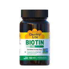 Вітаміни групи B (Biotin) 1 мг 100 таблеток ТМ Кантрі Лайф / Country Life - Фото