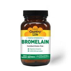 Бромелайн потрійна сила 500 мг 60 таблеток ТМ Кантрі Лайф / Country Life - Фото