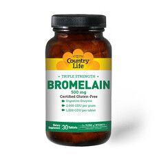Бромелайн (Bromelain) потрійна сила 500 мг 30 таблеток ТМ Кантрі Лайф / Country Life - Фото