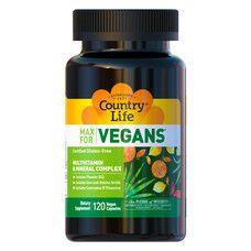 Мультивітаміни для веганів Max for vegan капсули №120 ТМ Кантрі Лайф / Country Life - Фото