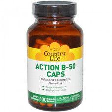 Вітаміни Action B-50 (Екшн В-50) 100 капсул ТМ Кантрі Лайф / Country Life - Фото