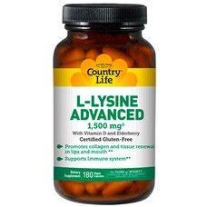 Амінокислота L-лізин Адванс 1,500 мг 180 капсул ТМ Кантрі Лайф / Country Life - Фото