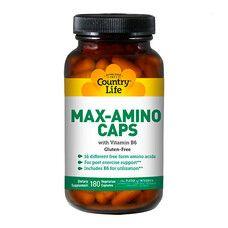 Амінокислоти з вітаміном В6 (Max-Amino) 180 капсул ТМ Кантрі Лайф / Country Life - Фото
