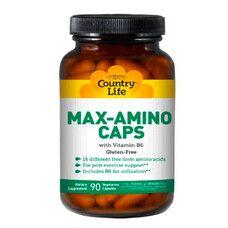 Амінокислоти з вітаміном В6 (Max-Amino) 90 капсул ТМ Кантрі Лайф / Country Life - Фото