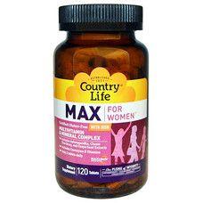 Витаминно-минеральный комплекс Max For Women без железа 60 таблеток ТМ Кантри Лайф / Country Life