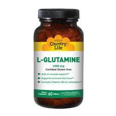 Аминокислота L-глютамин 1000 мг 60 таблеток ТМ Кантри Лайф / Country Life