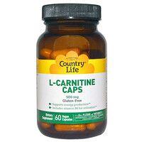 Жиросжигатель L-карнитин 500 мг 60 капсул ТМ Кантри Лайф / Country Life