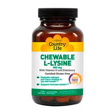 Амінокислота L-лізин 600 мг 60 жувальних таблеток ТМ Кантрі Лайф / Country Life - Фото