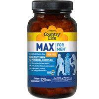 Витамины и минералы для мужчин Max For Men Free Iron Country Life 120 таблеток - Фото