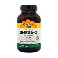 Витамины Omega-3 (Омега-3 рыбий жир) 1000 мг 100 капсул ТМ Кантри Лайф / Country Life