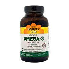 Вітаміни Omega-3 (Омега-3 риб'ячий жир) 1000 мг 100 капсул ТМ Кантрі Лайф / Country Life - Фото
