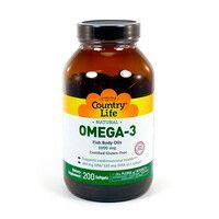 Витамины Omega-3 (Омега-3 рыбий жир) 1000 мг 200 капсул ТМ Кантри Лайф / Country Life