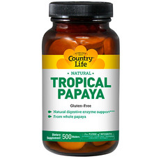 Тропічна папайя 200 жувальних таблеток ТМ Кантрі Лайф / Country Life - Фото