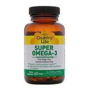 Витамины Super Omega-3 (Омега-3 концентрированный рыбий жир) 60 капсул ТМ Кантри Лайф / Country Life - Фото
