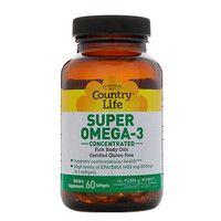 Витамины Super Omega-3 (Омега-3 концентрированный рыбий жир) 60 капсул ТМ Кантри Лайф / Country Life