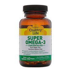 Вітаміни Super Omega-3 (Омега-3 концентрований риб'ячий жир) 60 капсул ТМ Кантрі Лайф / Country Life - Фото