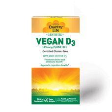 Вегетаріанський вітамін Д3 5000 МО (Vegan D3) 60 капсул ТМ Кантрі Лайф / Country Life - Фото