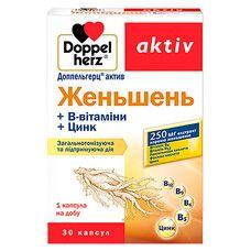 Доппельгерц Актив Женьшень+ витамины группы B и Цинк капсулы №30 - Фото