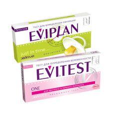 Тест-полоска для определения овуляции Eviplan 5 + тест-полоска для определения беременности Evitest One