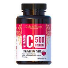 Витамин С с Ацеролой клубника таблетки 500мг №100 - Фото