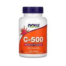 Вітамін C-500 з шипшиною (With Rose Hips) ТМ Нау Фудс / Now Foods 250 таблеток - Фото