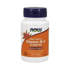 Витамин D3 (Vitamin D-3) 5000IU ТМ Нау Фудс / Now Foods 120 желатиновых капсул - Фото