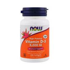 Витамин D3 (Vitamin D-3) 5000IU ТМ Нау Фудс / Now Foods 240 желатиновых капсул - Фото