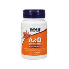 Вітамін А і Д (Vitamin A&D) ТМ Нау Фудс / Now Foods 10,000 / 400 МО 100 желатинових капсул - Фото