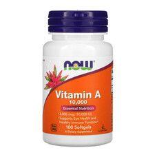 Вітамін А (Vitamin A) 10 000 IU ТМ Нау Фудс / Now Foods 100 желатинових капсул - Фото