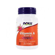 Вітамін А (Vitamin A) 25,000 МО ТМ Нау Фудс / Now Foods 100 желатинових капсул - Фото