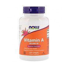 Вітамін А (Vitamin A) 25,000 МО ТМ Нау Фудс / Now Foods 250 желатинових капсул - Фото