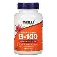 В-Комплекс Медленного Высвобождения B-100 Now Foods таблетки №100