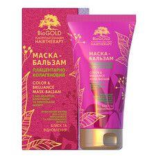 Маска-бальзам плацентарно-колагенова для фарбованого волосся Біоголд з біо-золотом, кератином і протеїнами шовку 150 мл - Фото