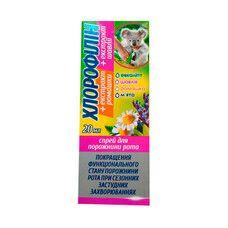Хлорофиллин спрей с экстрактом ромашки и шалфея для полости рта 20 мл