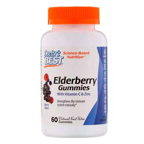 Чорна Бузина з Вітаміном С и Цинком Elderberry Vitamin C & Zinc Doctor's Best 60 конфет